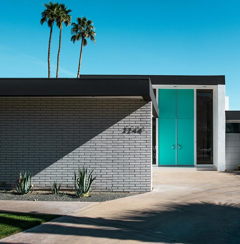 blue door in palm springs